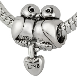 Wholesale Love Birds Silver - Wholesale 925 Sterling Silver Love Birds Kiss Charms European Beads fit Pandora Snake Chain Bracelets Jewelry
