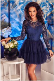 Wholesale Cute Sexy Babydoll - FREE SHIPPING 2016 Sexy Women Casual Navy Lace Tulle Babydoll Skater Dress NA22566 Fashion Ladies Cute Clubbing Dress Vestidos