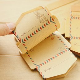Wholesale Double Sided Stationery Tape - Wholesale-50 pcs set Mini Retro Vintage Kraft Paper Envelopes Cute Cartoon Kawaii Paper Korean Stationery Gift Free shipping 710