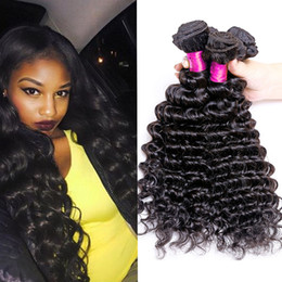 Wholesale Deep Wave Eurasian Hair - Grade 8A 3Bundles Brazilian Deep Curly Virgin Remy Human Hair Extensions Peruvian Malaysian Indian Eurasian Russian Deep Wave Hair Weave