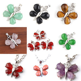 Wholesale Amethyst Crystal Beads - Charm Amethyst Red Agate Malay Jade etc Natural Stone Butterfly Bead Pendant Accessories Silver Plated Butterfly Fashion Jewelry 16X Mix