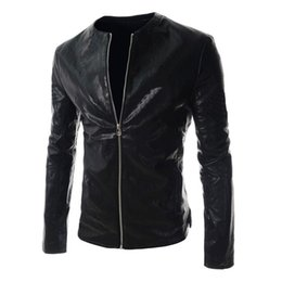 Wholesale Leather Sleeved Jackets Men - Men's Fashion 2018 Long Sleeved Stand Collar PU Leather Slim Zip Moto Jacket Biker