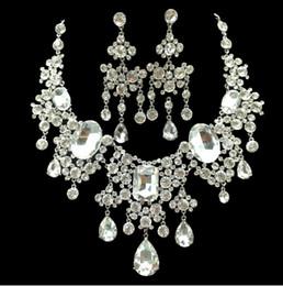 Argentina Cristales más vendidos Joyería nupcial del banquete de boda Barato nuevo bonito pendiente y collar de noche de baile niñas joya accesorios Suministro