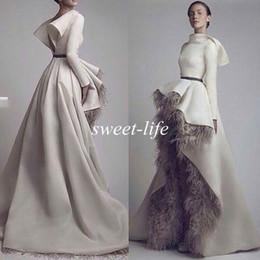 Wholesale Grey Peplum Dress - Krikor Jabotian Long Sleeves Wedding Bridal Evening Dresses 2016 Short Font Long Back Grey Feather Satin Open Back Formal Dresses Prom Gowns