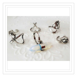 Wholesale Wholesale Nail Supplies Free Shipping - Hot Nail Rings Retro Exaggerated Cross Adjustable Finger Knuckle Nail Rings For Women Set of 6pcs Wedding Supplies Rings Gift Free Shipping