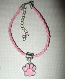 Wholesale Red Paw Print - 20pcs Hot Fashion Antique Silver Pale Pink with Dog Paw Print Pendants Charm Braided Rope Mixed Colours Bracelet Jewelry Holiday Gift A161