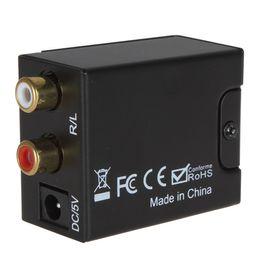 Wholesale Digital Toslink Rca - 2PCS Digital Optical Coaxial Toslink Signal to Analog RCA L R Audio Converter Adapter + Fibre Optic Cable HMP_444