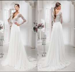 Wholesale Lowest Price Gown Sale - Low Price A Line V-neck Long Sleeve Beach White Chiffon Wedding Dress Appliques Most Popular Hot Sale Wedding Bridal Gowns