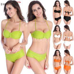 Wholesale Bra Hard - Women's Summer Sexy Fashion Hand Woven Braid Hard Cup Bikini Swimsuit Set Bra Swimsuit Swimwear Bathing suits DM075