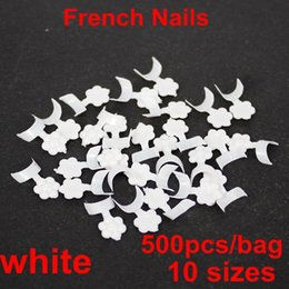 Wholesale Fake Color French Nails - False nail 500pcs bag 10 sizes french nail short edge armor white color acrylic nail tips short french style fake nails