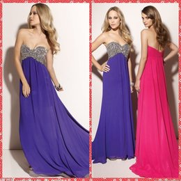 Wholesale Sweetheart European Prom Dress - European Fashion Sweetheart Beaded Crystal Chiffon A-Line Prom Dresses Beaded Crystal Court Train Long Fashion Special Formal Party Gowns