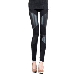 Wholesale Tight Stretch Leather - S5Q Women PU Leather Tight Legging Pant Sexy Slim Stitching Stretch Black Fitted Capris AAAECX
