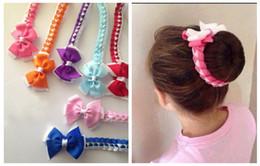 Wholesale Hair Buns For Girls - Free shipping 20pcs hair Bun wraps good boutique hair bows Head Wrap hair clips bows Hairband Headbands for girl PD020