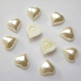 Wholesale Flat Back Resins Beads - 200pcs 8mm 10mm  12mm Heart Shape Flat Back Ivory Color Loose Pearl Beads ZZ210