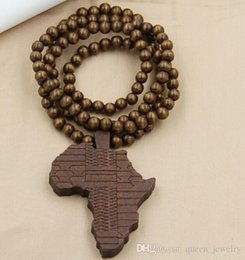 Wholesale Good Wood Africa - Wholesale-Support wholesale Hip hop rock big Africa map pendant long chain men necklaces beads good wood jewelry necklace beads necklace