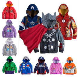 Wholesale Hood Sweater Boys - New Cars Sofia Captain America Avenger iron man jackets kids children hooded sweater boys girls printing coat kids casual jacket in stock