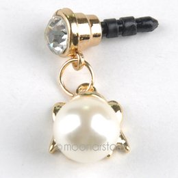 Wholesale Iphone Bow Jack - Wholesale-Cute Rhinestone Bow Knot Pearl Dust Plug for iPhone 6 4S 3.5mm Jack Headphone Plugs Phone Accessories Y50*CA1121C02