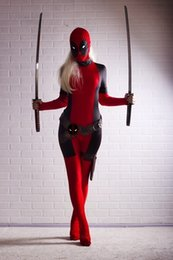 Wholesale Body Suit Costume Kids - Free shipping Lady Deadpool Costume Red full body spandex girl women female Heros Deadpool Zentai Suit