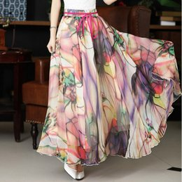 Wholesale Maxi Elastic Waist Chiffon Skirt - High Quality Flower Print Silk Long Chiffon Skirts Elastic Waist Patterns Peacock Big Buttom Bohemia Skirt Maxi Long