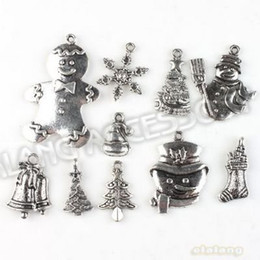 Wholesale Metal Charms Pendants Assorted - Free Shipping Christmas 60pcs lot Charms Assorted Zinc Alloy Antique Silver Tone Metal Pendant Fit Handcraft DIY 142766