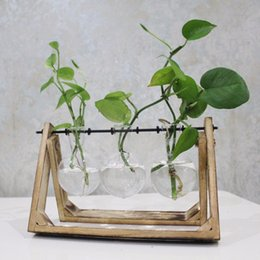 Wholesale Vase Modern Glass - Vintage Style Glass Tabletop Plant Bonsai Flower Wedding Decorative Vase With Wooden Tray Home Decoration Accessories