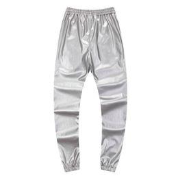 Pantalon de jogging en cuir pu en Ligne-En gros-automne hiver hommes pantalons de danse hiphop PU cuir joggers noir rouge argent hommes joggers pantalons de survêtement occasionnels hip hop sweat pantalon
