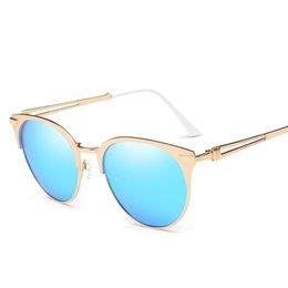 Wholesale Vintage Rose Mirror - Cat eye Women Sunglasses 2017 New Brand Design Mirror Flat Rose Gold Vintage Cateye Fashion sunglasses lady Eyewear UV400