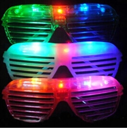 Wholesale New Years Led Glasses - LED Shutters Glasses Glasses Light Up Rave Toys For Halloween Masquerade Mask Dress Up Christmas Party Decoration Supplies