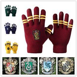 Wholesale Wool Winter Gloves Men - Harry Potter gloves School Unisex Knited gloves Cosplay Costume Warm Stripe gloves Christmas gift glove LA157-1