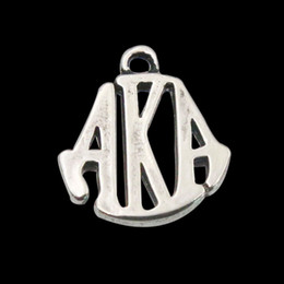 Wholesale Greek Letters Charms - Antique Silver Plated Alloy Greek Letter Charms Vintage AKA Letter Bangle Charms 50pcs lot 15*19mm AAC1090