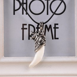 Wholesale Brave Jewelry - 1PC NEW Brave man Wolf Tooth Necklace Domineering Courage Strength Pendant Necklace Men Jewelry 051-60