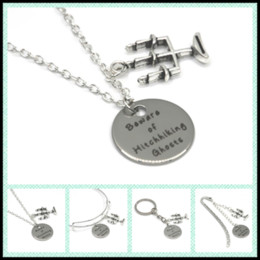Wholesale Ghost Pendants - 12pcs lot Beware of Hitchhiking Ghosts necklace bracelet keyring bookmark candelabra charm necklace