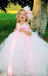 Wholesale Organza Flowers For Headband - Light Pink Beautiful Flower Girl Dress For Wedding Flower Headband And Dress Children Dress Baby Girl Party Dresses Princess Ball Gown FD048