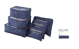 Wholesale Bedding Packs - Packing Cubes Travel Organizers Luggage Compression Pouches Travel Accessories Suitcase Clothes Storage Bags Luggage-6 Sets-Navy