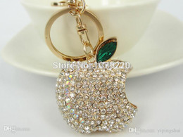 Wholesale Wholesale Ch Bag - Wholesale-CH Z Apple Keyring Rhinestone Fruit Model Crystal Charm Pendant KeyChain Gift Bag Free shipping