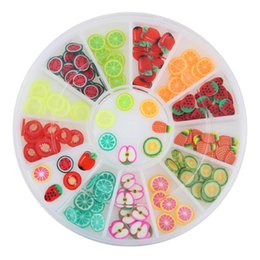 Wholesale Nail Fimo Clay - Wholesale-Polymer Clay 12 Kinds Of Fruit Cherry Watermelon Strawberry Fimo 3D Nail Art Decorations Glitter DIY Charm Nails Tools ZP127