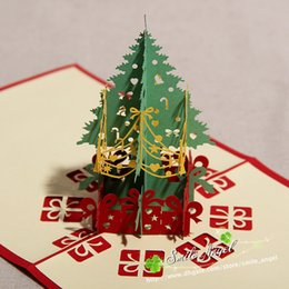 Wholesale Pop Up 3d Cards - Creative Kirigami & Origami 3D Pop UP Greeting & Gift Christmas Cards with Christmas Tree & Gifts Free Shipping