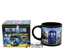 Caneca de café Doctor who desaparecendo tardis caneca presentes de feriado calor sensível com aperto de mão de