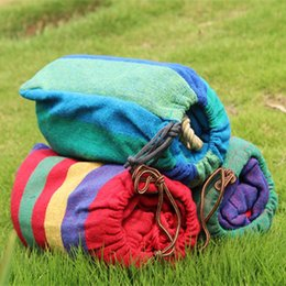 Wholesale Wholesale Roped Hammocks - Cotton Stripe Hammock With Tied Rope Thickening Canvas Hammocks For Outdoor Travel Hanging Chair Easy To Carry 11th B R