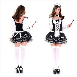 Wholesale Maid Set - Adult Lingerie Sexy Costumes For Women Pretty French Maid Costume Set Long Sleeved Dress Outfit F15245