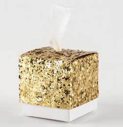 Wholesale Square Gift Boxes Wholesale Clear - Gold Silver Party Favors New Wedding Party Favors And Gifts Candy Box Gold Glitter Favor Box For Guest