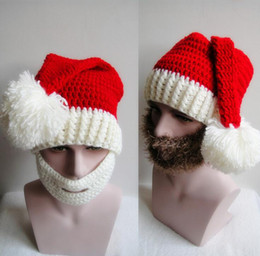 Wholesale Warm Santa Hat - Christmas Warm Knitted Hats for Men Women Adult Santa Claus Beard Masks Beanies Mustache Mask Face Knitted Winter Ski Beard Red Hats