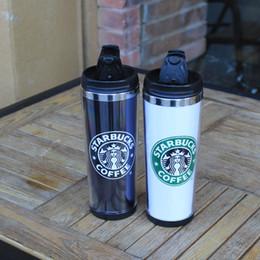 placas cerâmicas de coração Desconto 4 cores New Hot Starbucks Dupla Parede de Aço Inoxidável Caneca Flexível Xícaras Em Linha Reta / Xícara De Café / Caneca De Chá / Canecas de Viagem / Xícaras De Chá / Copos De Vinho