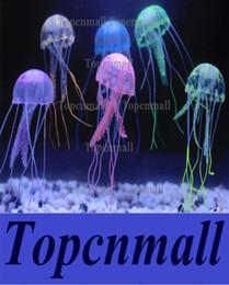 Wholesale Pool Jellyfish - New Cute Fluorescent Glowing Effect Jellyfish Aquarium Fish Tank Ornament Swim Pool Bath Deco Mini Night aquarium lamp