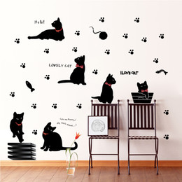 Wholesale Cat Laptop Decal - Black Cat with Bow Tie and Paw Wall Art Mural Decor Cartoon Cat Laptop Sticker DIY Home Decoration Decal Posters