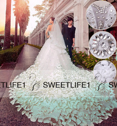 Wholesale Hand Images Photos - Real Image Crystal Wedding Dresses Sweetheart Neck Backless A Line Luxury Wedding Gowns Handmade Flowers Cathedral Train Church Bridal Gowns