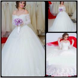 Wholesale Fancy Chart - Fancy 2016 Ball Gown Wedding Dress Long Sleeve Off Shoulder Bride Dresses Lace vestidos de noivas Bridal Gowns Custom