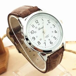superior watches Promo Codes - Wholesale-Superior New Elegant Analog Luxury Sports Leather Strap Quartz Wrist Watch for Men July6