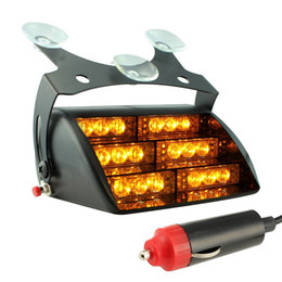 Wholesale amber leds - Car LED Emergency Lights 12V chuck LED Flash Lights 18 LEDS with Retail package DHL Free Shipping