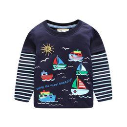 Wholesale Sail T Shirt - Sail boat Boys T shirt Boys clothes Striped Sleeve Fake two-pieces European New style 2017 Autumn Spring Bottom Top 1-6T 100%cotton.